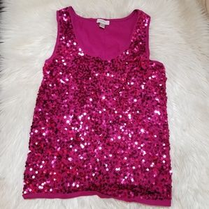 Ann Taylor LOFT Hot Pink Fuschia Sequin Tank XL